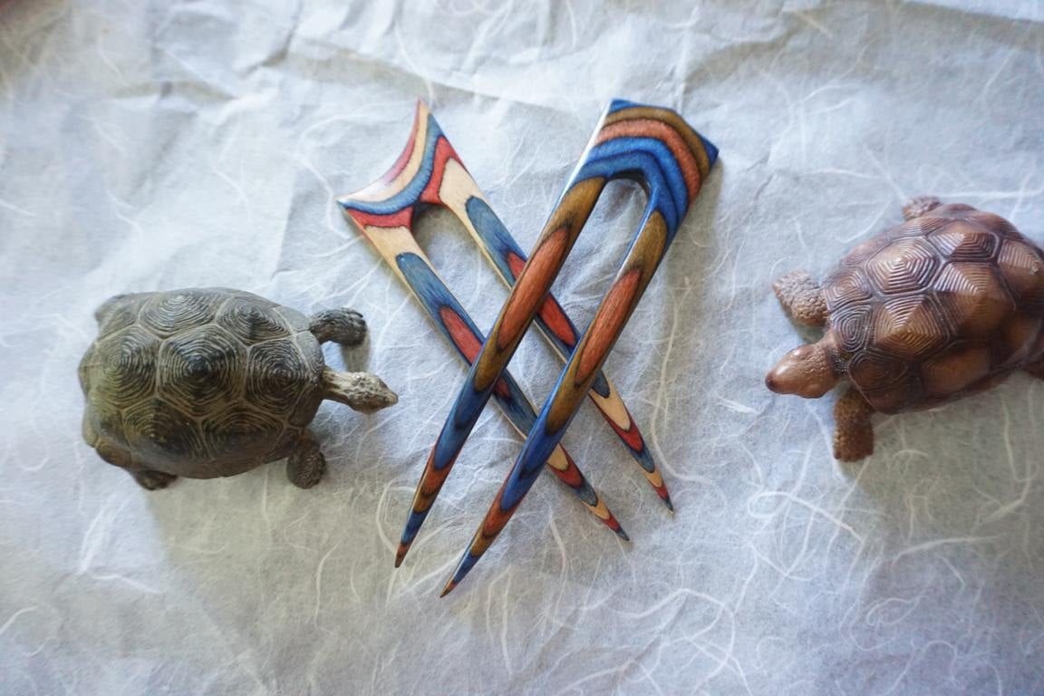 Patriotic and Bluebell Frogwood Hair Forks