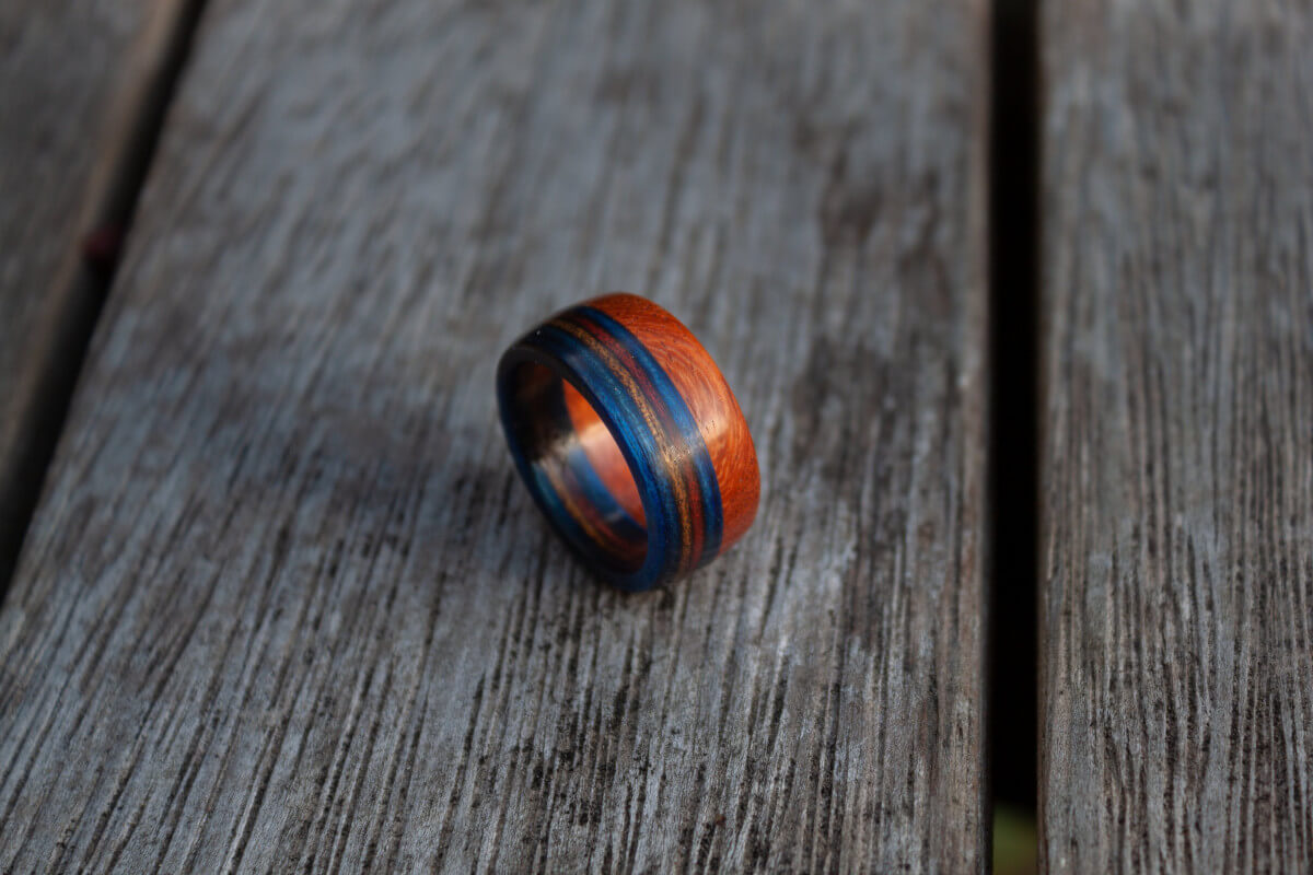 Mahogany and Bluebell Frogwood ring by YouWoodNZ