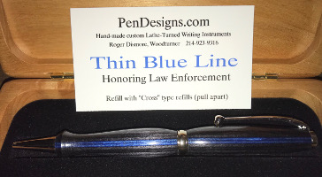 Pen in Thin Blue Line Frogwood by Roger Dismore